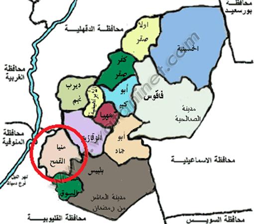 موقع منيا القمح على الخريطة