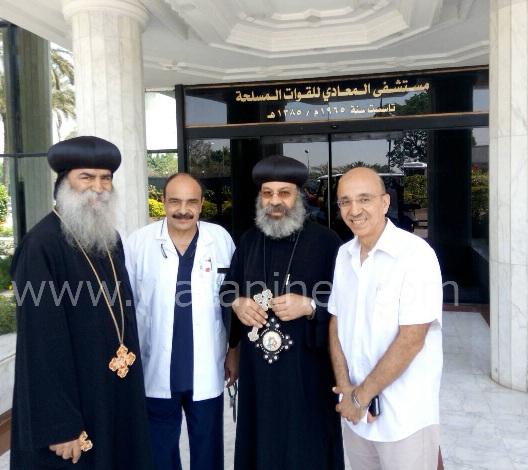 الأنبا رافائيل والأنبا بيمن يزورا مصابي تفجيرات كنيسة مارجرجس بالمعادي العسكري (6)