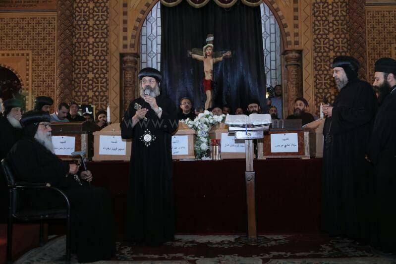 البابا تواضروس يرسل رسالة عزاء في وداع شهداء المرقسية